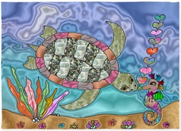 Sea Turtle Sea Horse Art 5'x7'Area Rug