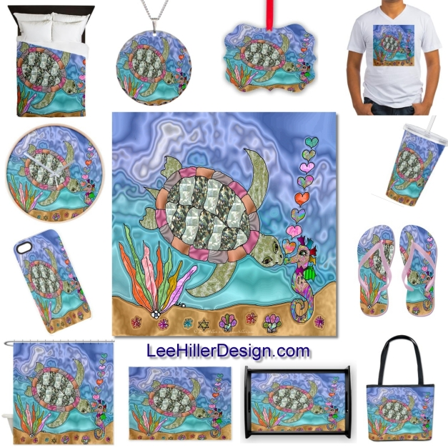 Sea Turtle Sea Horse Art by Lee Hiller