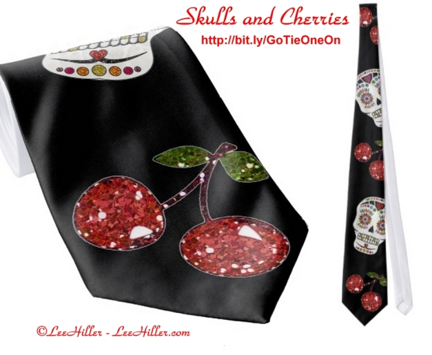 RAB Rockabilly Sugar Skulls Cherries On Black Tie