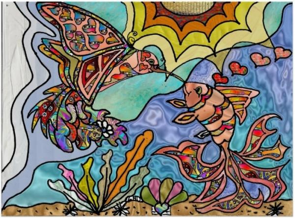 Retro 60s Psychedelic Hummingbird Goldfish Fantasy Art Poster