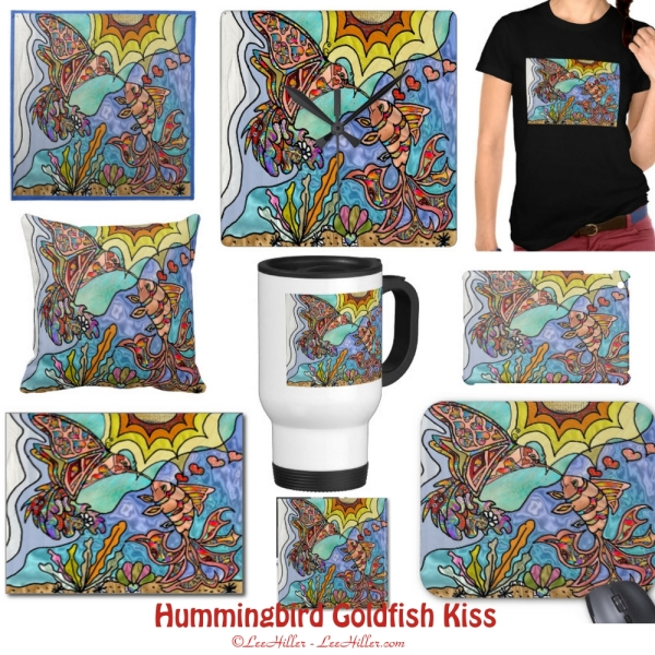 Retro 60s Psychedelic Hummingbird Goldfish Fantasy Art Gifts