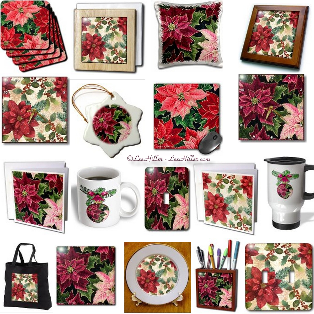 Retro 50s Christmas Poinsettia Designs on Amazon