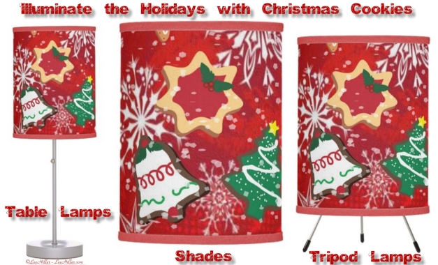 Illuminate your Holiday Spaces with Lee Hiller Designs Retro 50s Christmas Cookies Snowflakes Lamps