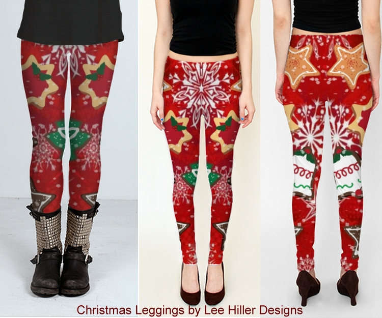 Fun Christmas Cookies and Snowflakes Red Holiday Leggings