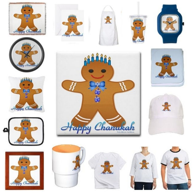 Lee Hiller Designs Hanukkah Gingerbread Man Menorah